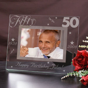 Engraved 50th Birthday Glass Picture Frame