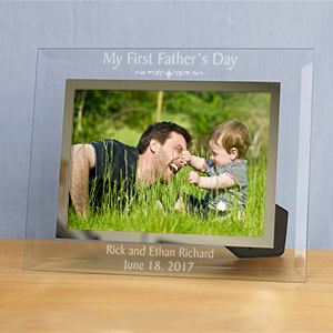 Engraved First Fathers Day Glass Picture Frame G928351