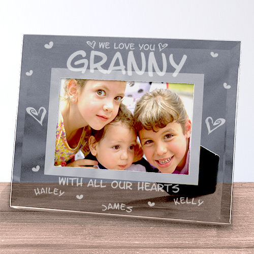 Engraved All Our Hearts Glass Picture Frame | Personalized Picture Frames