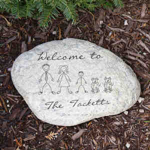 Engraved Stick Family Garden Stone