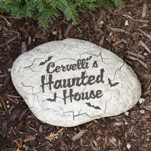 Engraved Haunted House Garden Stone