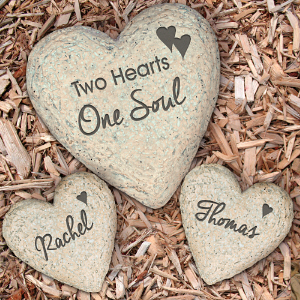 Engraved Couples Heart Garden Stone Set