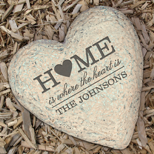 Engraved Family Heart Garden Stone | Personalized Stones