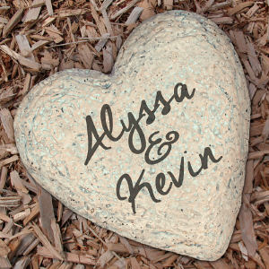 Engraved Couples Heart Garden Stone