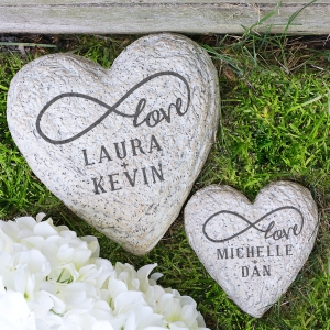Infinity Love Couple Heart Garden Stone