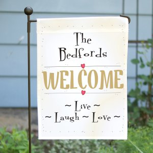 Live, Laugh, Love Personalized Garden Flag | Personalized Housewarming Gifts