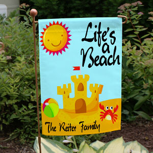 Life's A Beach Personalized Garden Flag
