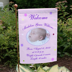 Newborn Baby Girl Garden Flag