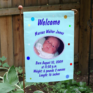 Newborn Baby Boy Announcement Garden Flag