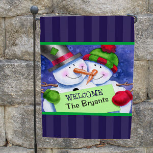 Personalized Snow Couple Garden Flag