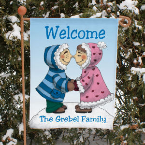 Eskimo Couple Personalized Garden Flag 83036172