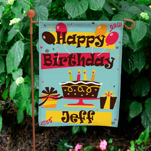 Personalized Happy Birthday Garden Flag