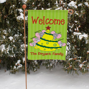 Personalized Christmas Mice Garden Flag
