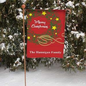 Personalized Christmas Wreath Garden Flag 83037852