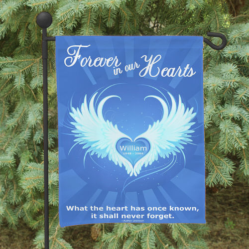 Printed Forever In Our Hearts Garden Flag