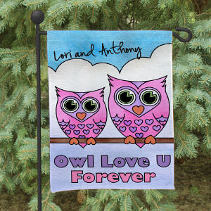 Personalized Owl Love U Forever Garden Flag