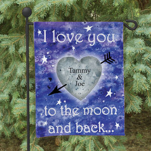 Personalized To The Moon and Back Garden Flag