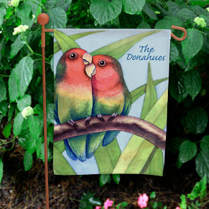 Personalized Love Birds Garden Flag