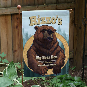 Personalized Big Bear Den Garden Flag