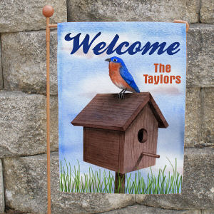 Personalized Blue Bird Welcome Garden Flag