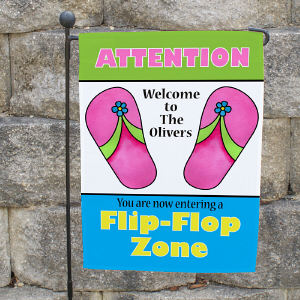 Personalized Flip Flop Zone Garden Flag