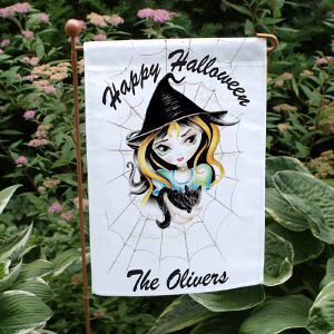 Personalized Halloween Witch Garden Flag