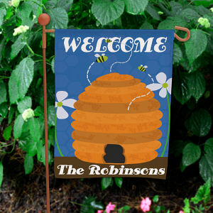 Personalized Beehive Welcome Garden Flag