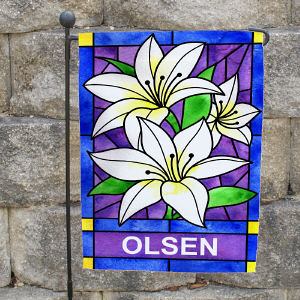 Personalized Lily Flowers Welcome Garden Flag 83055452