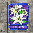 Personalized Lily Flowers Welcome Garden Flag