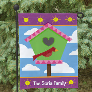 Personalized Birdhouse Welcome Garden Flag