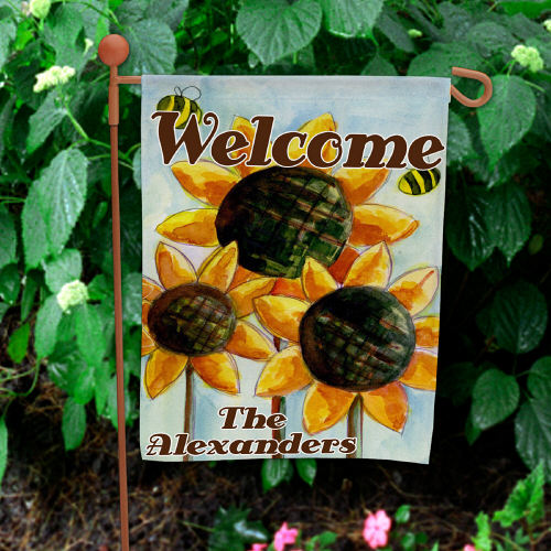Personalized Sunflower Welcome Garden Flag 83055972