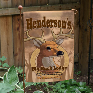 Personalized Big Buck Lodge Garden Flag