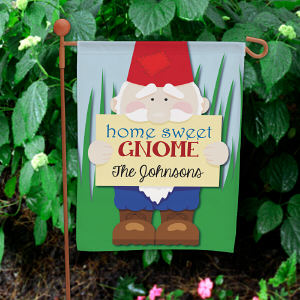Personalized Home Sweet Gnome Garden Flag