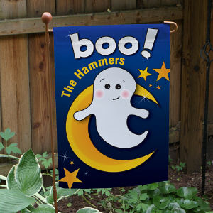 Personalized Friendly Ghost Halloween Garden Flag