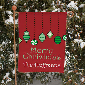 Personalized Holiday Ornaments Garden Flag
