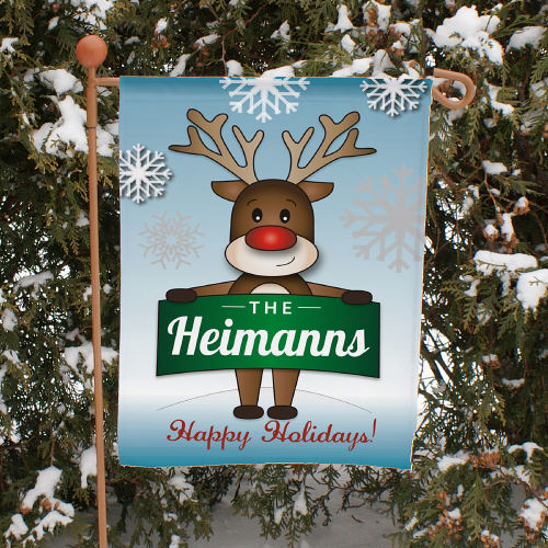 Personalized Reindeer Welcome Garden Flag 83060432