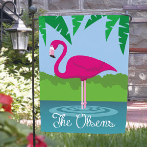 Personalized Pink Flamingo Garden Flag