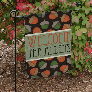 Personalized Fall Welcome Garden Flag