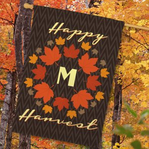 Personalized Happy Harvest House Flag 83080632L