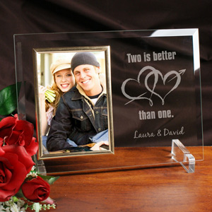 Two Is Better Than One Beveled Glass Picture Frame