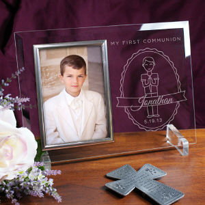 Engraved First Communion Beveled Glass Picture Frame