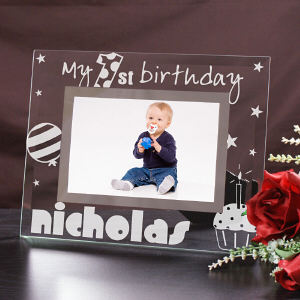 Engraved First Birthday Glass Picture Frame
