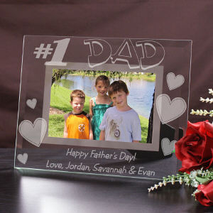 Engraved Number One Dad Glass Picture Frame