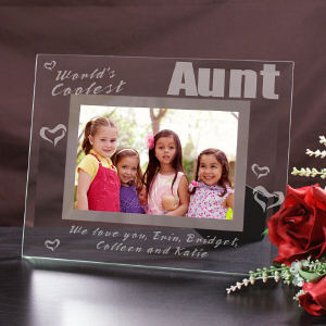 Engraved World's Coolest Glass Picture Frame G921561-Aunt