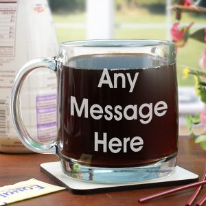 Engraved Block Message Glass Mug | Custom Coffee Mug
