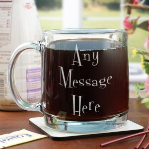 Engraved Mystical Message Glass Mug