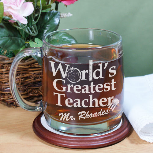 Engraved World's Greatest Teacher Glass Mug | Personalized Teacher Gifts
