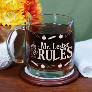 Engraved My Teacher Rules Glass Mug | Personalized Teacher Gifts