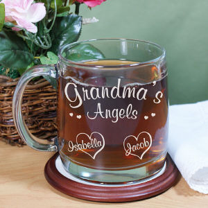 Angels of My Heart Personalized Glass Mug | Mother's Day Coffee Mug
