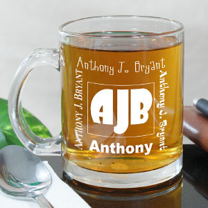Engraved Initials Glass Mug